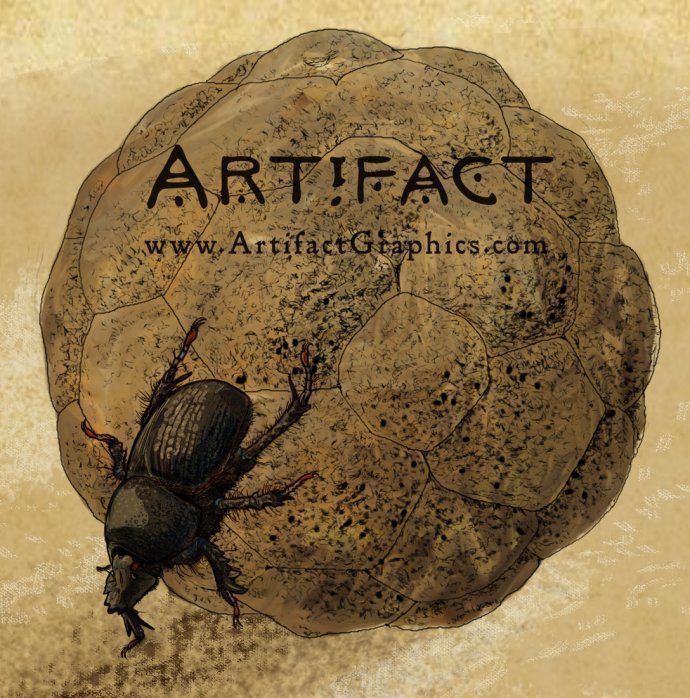 Completed dung beetle illustration for Boo at the L.A. Zoo cave sign, by Michelle Leveille