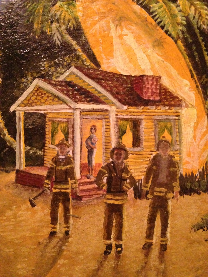 This is me, in my bathrobe and slippers, holding my baby in front of my burning house while the firemen look away. It all seemed so symbolic. My world was falling to ashes and I felt the overwhelming burden of my responsibilities.