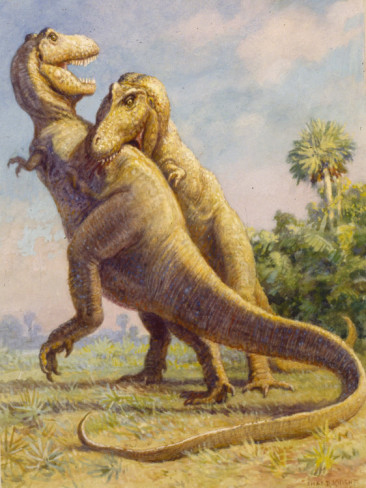 Original T. rex painting by Charles R. Knight, used for color reference