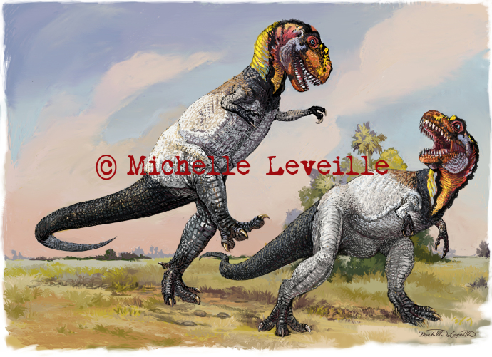 Dueling Tyrannosaurus rexes, illustrated by Michelle Leveille. Click on the image to see my blog post about its creation.