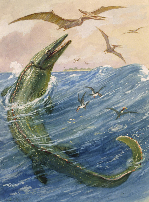Mosasaurus painting by Charles R. Knight