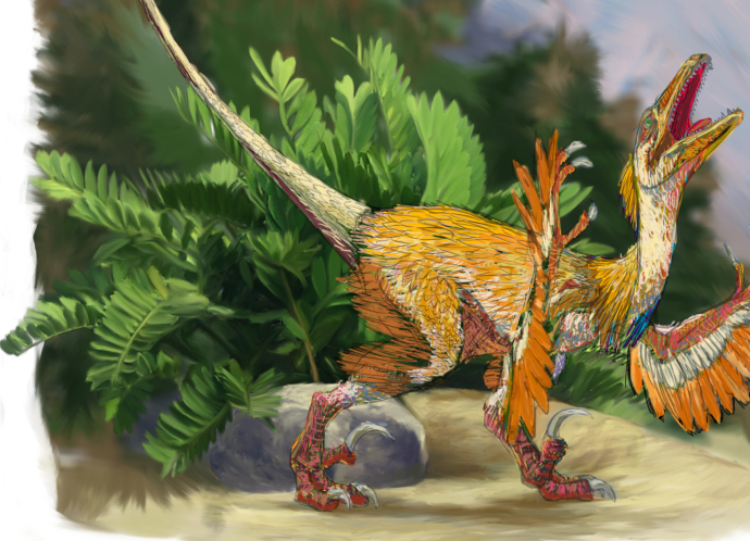 A cycad behind velociraptor version 10, by Michelle Leveille